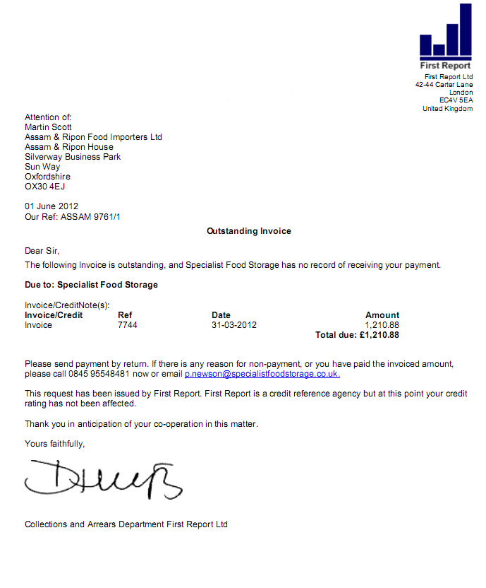 Debt Recovery Letter Example